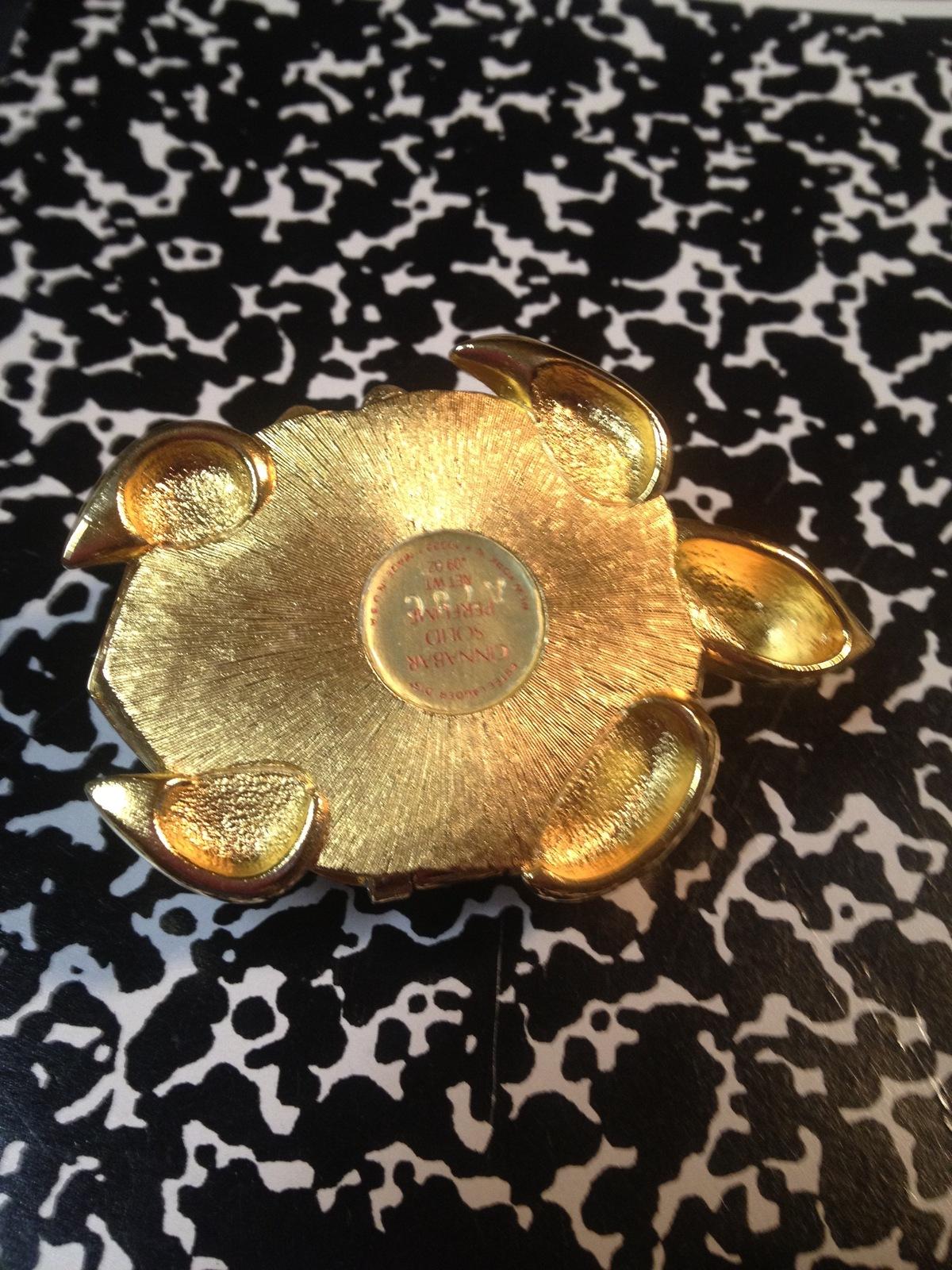 Estee Lauder TURTLE Vintage Solid Perfume Compact - CINNABAR - 1988