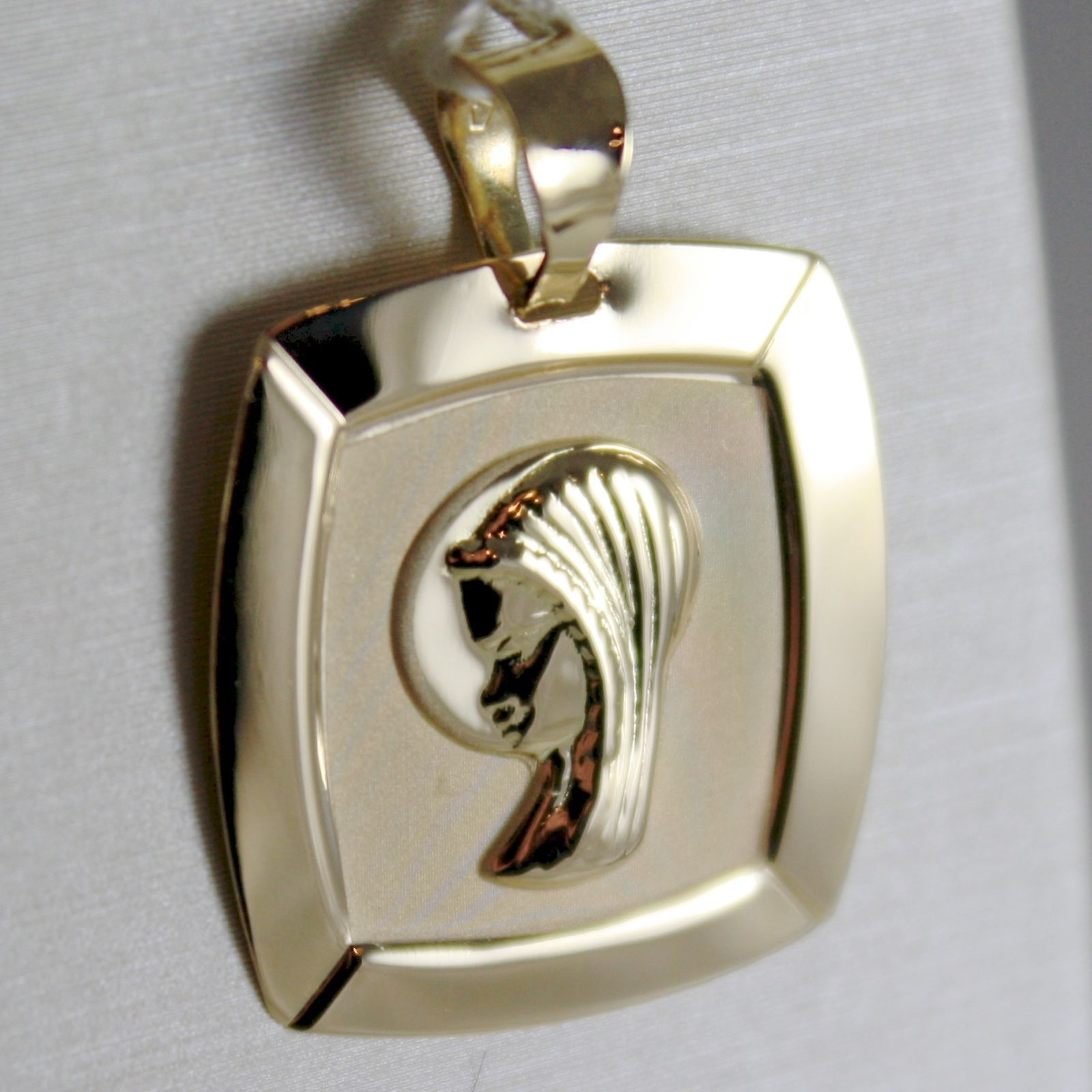 18K YELLOW GOLD SQUARE MEDAL VIRGIN MARY MADONNA, ENGRAVABLE SATIN MADE IN ITALY