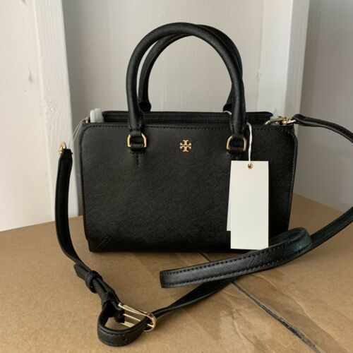 Tory Burch Robinson Leather Micro Zip Crossbody Bag - Black