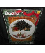 "VINTAGE 1994 BUCILLA 42"" ROUND COUNTED CROSS-STITCH SANTA CHRISTMAS TREE... - $120.62"