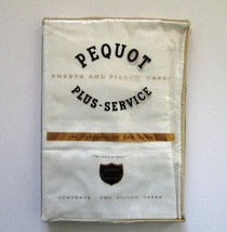 Vintage Pequot Mills Plus Service White Pair Pillowcases USA Made Set of... - $38.67