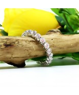 US 8.5 - 3.50ct Wedding Full Eternity 3mm Round Diamond CZ Sterling Silv... - $110.99