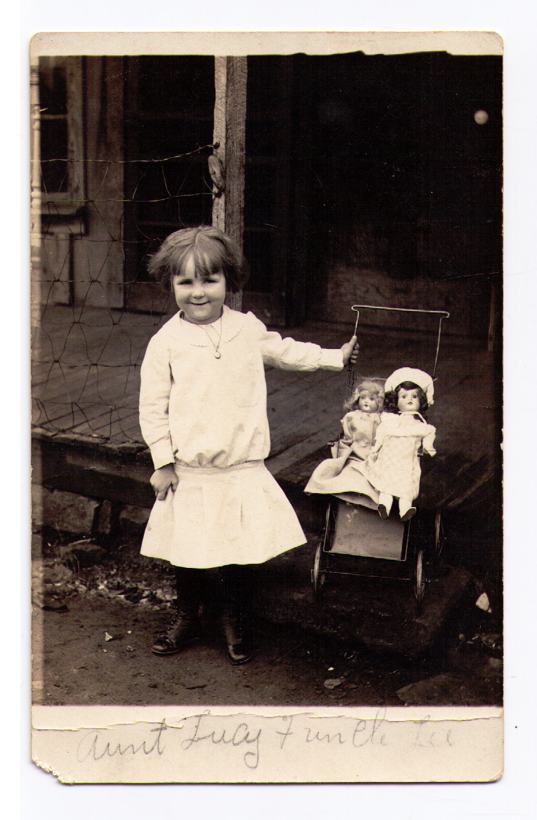 RPPC Little Girl with Dolls in Doll Buggy