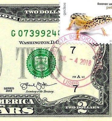 MONEY US $2 DOLLARS 2013 STAMP CHICAGO CANCEL LOVE PETS GECKOS GEM UNC image 3