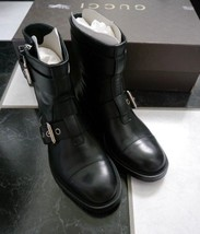 NIB 100% AUTH Gucci Men's Black leather biker boots Shoes Size 5.5 $1098 368430 - $493.02