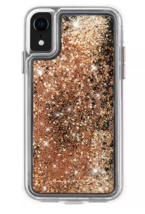Case-Mate iPhone X Xs Gold Waterfall Clear Plastic Protective Phone Case NEW