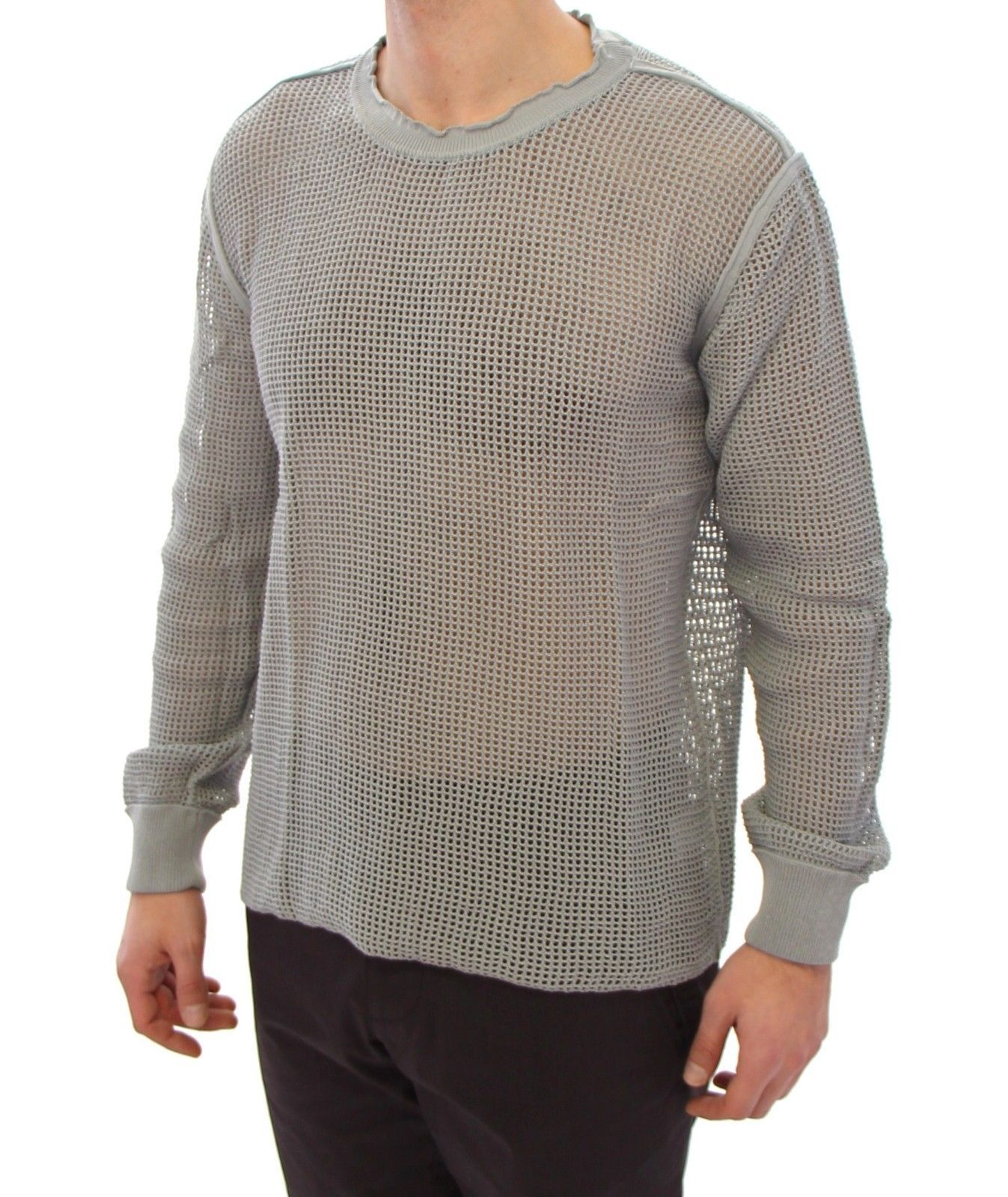Dolce & Gabbana Gray Runway Logo Netz Pullover Netted Sweater