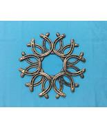 Large Cast Iron Gold Color Horseshoe Wreath Western Decor - $25.73