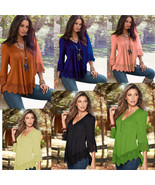 ITCQUALITY LADIES LOOSE V-NECK WOMENS TOPS LACE PANELED BLOUSE PLEATED I... - $30.00