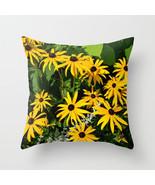 Throw Pillow Cushion case Made in USA Photo 29 Rudbeckia Yellow Green L.... - $29.99+