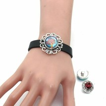Leather Strap Bracelet Snap Button Bangles 18MM DIY Fashion Jewelry Black Brown - $3.49
