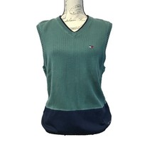 Tommy Hilfiger XL Sweater Vest Green Blue Drawstring V Neck Cotton Milit... - $25.15