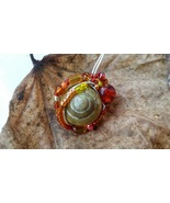 FireSpell Necklace: Natural snail with firey beadwork - $36.00