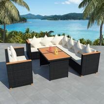 vidaXL Outdoor Dining Set 27 Piece Wicker Poly Rattan Black WPC Garden L... - $730.99
