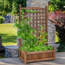 Outdoor Planter Box Portable Flower Pot Solid Wood Boxes Trellis Weather... - $141.32 CAD