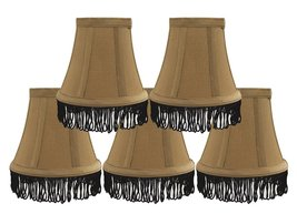 Urbanest Set of 5 Gold with Black Fringe Silk Bell Chandelier Lamp Shade, 3-inch - $28.70