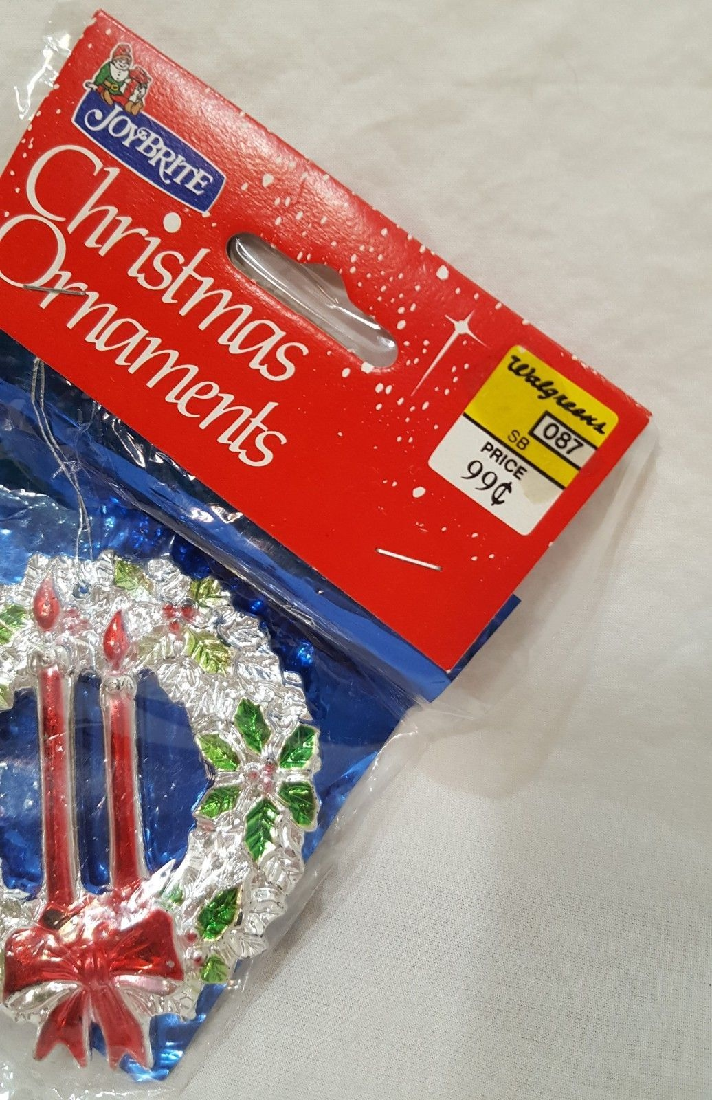 "Vintage Joybrite Wreath Christmas Ornament Sealed 3"" Plastic Silver Red Green"