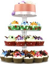 DYCacrlic Acrylic 4-Tier Square Stacked Party Cupcake Stand, Dessert Hol... - £18.51 GBP