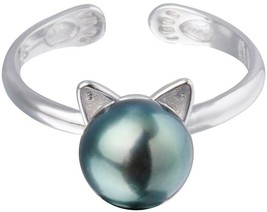 S.Leaf Black Freshwater Pearl Ring Cat Ring Sterling Silver - $39.19