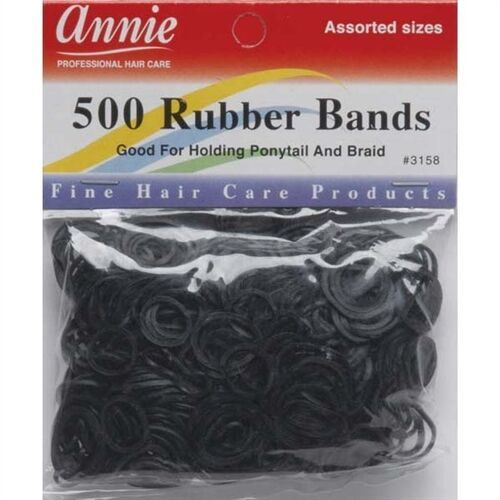 Primary image for Annie 500 Rubber Bands Ponytail Holding Elastic Ring Black #3158 Assorted Sizes