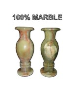 JT Handmade Marble Flower Vases Plant pot pair Elegant Home Decor  - $39.59
