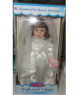 BRIDE Doll Wedding Dress NEW Collectors Choice Boxed Stand Bisque Porcelain - $14.00