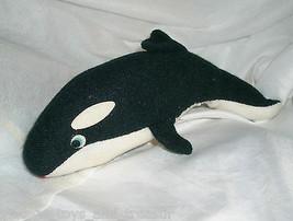 "8"" VINTAGE BLACK SEA WORLD SHAMU KILLER WHALE ORCA STUFFED ANIMAL PLUSH TOY - $13.33"