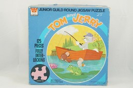 Vtg Tom and Jerry Round Puzzle '72 Whitman Junior Guild Jigsaw 125 Piece Fishing - $23.71
