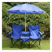 Double Folding Chair With Removable Umbrella Table Cooler Bag Fold Up - $57.95