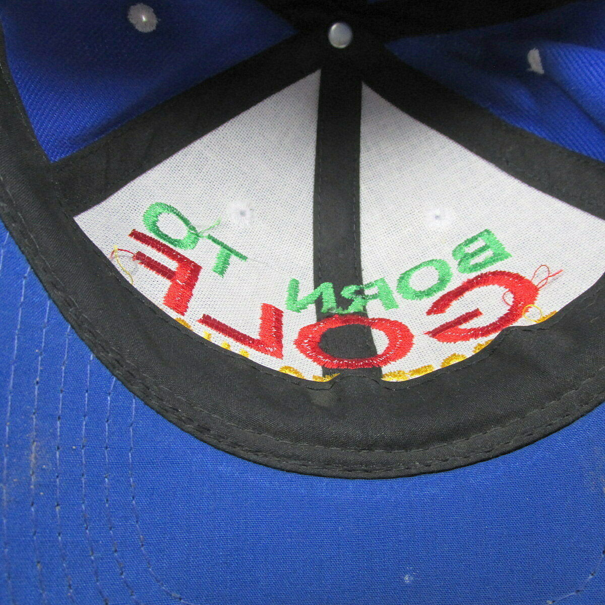 Born to Golf Cap Baseball Forced Work Vents Blue Embroidered Hat image 5