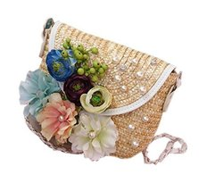 Travel Beach Cross Body Bag Flower Straw Bag