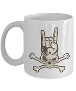 Heavy Metal Horned Skull Print Coffee & Tea Gift Mug For A Rock Music Lo... - $22.53