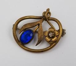 "Victorian Brass Brooch Pin Flower & Blue Faux Sapphire w/ C Clasp 1"" x 3/4"" - $64.34"