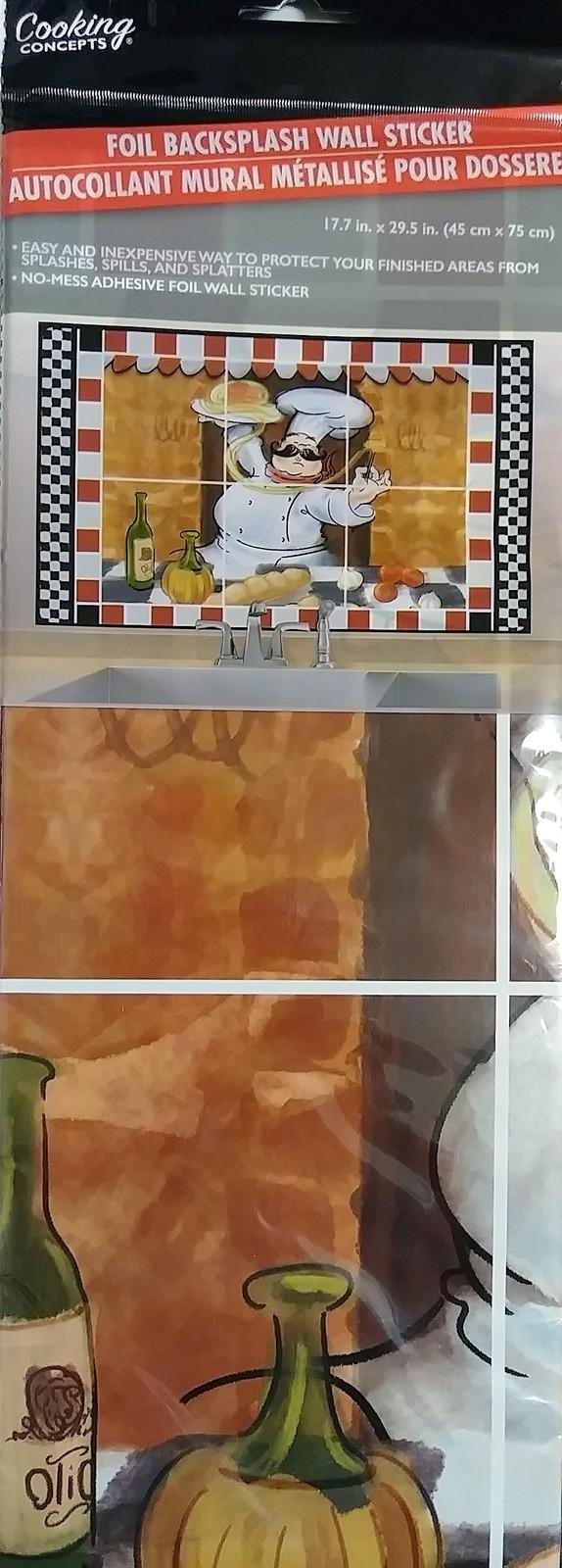 FAT CHEF DECOR BACKSPLASH Foil Wall Sticker Decal 30x18 NEW