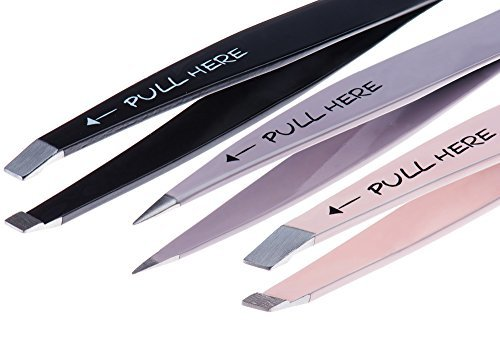 Precision Tweezers Set 3 Piece: Pointed, Slanted, and Flat with Silicone Tip Cov