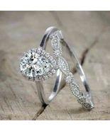 Women's 2.40 Ct Pear Diamond Bridal Engagement Ring Set 14K White Gold Over - $114.57
