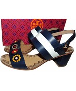 $350 Tory Burch Blue Marguerite Two Band Sandals Flower Slingbacks 8 - $169.00