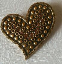 Chicos AHA Gold-tone Rhinestone Heart Brooch 2007 - $14.84
