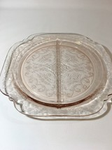 Pink Madrid Open Rose Depression Glass Dinner Divided Plate idiana 7B - $11.87