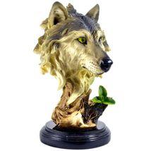 "Americana Rustic Nature Gray Wolf Head Bust 8.5""  Resin Figurine image 5"