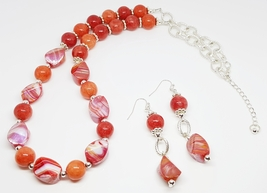 Orange & White Swirl Asymmetrical Beaded Duo Set - $30.00