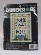 """1997 Dimensions Counted Cross Stitch Kit 6727 Sweet Mortgaged Home 5"""" x 7"""" - $9.90"""