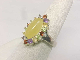 Colorful Genuine Multi-Gemstones RING in Sterling Silver - Size 7 1/4 - Signed image 2