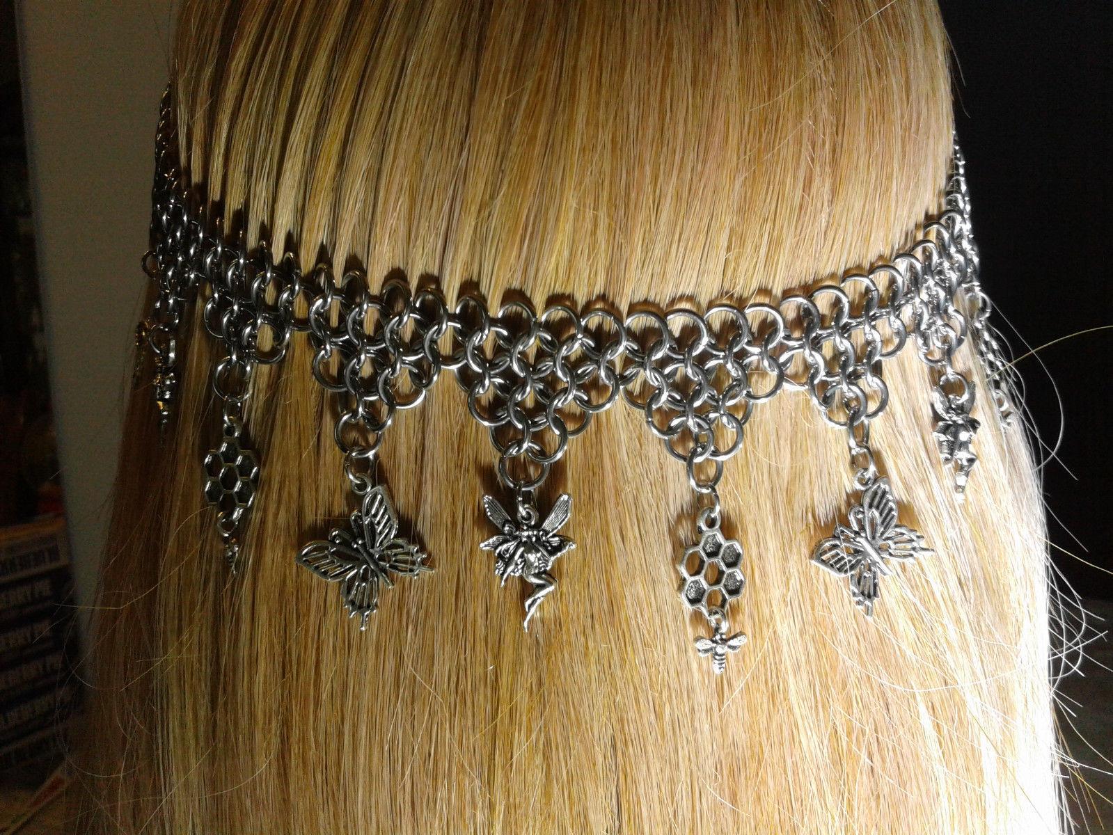 Handmade Chain Mail Circlet Head Piece Fairy Charms Renaissance Costume Z214