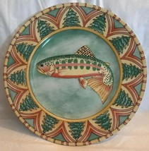 Vintage Siddhia Hutchinson SPLASH Ceramic Dinner Plate Multicolor Fish 1... - $19.79