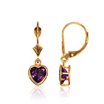 14K Solid Y Gold Bezel Set Amethyst 7mm Heart Leverback Dangle Earrings - $100.96