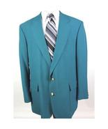 John Weitz Men's 44L Big & Tall Turquoise Wool Gold Buttons Blazer Sport... - $28.88