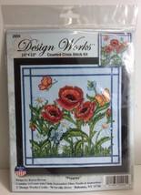"""(New) Cross Stitch Kit Design Works - """"Poppies - 10"""" x 10"""" - #DW2995 - $17.81"""