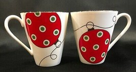 Lenox Merry & Bright Red & Green Christmas Ornaments 10oz. Coffee Mugs Set of 2 - $18.99