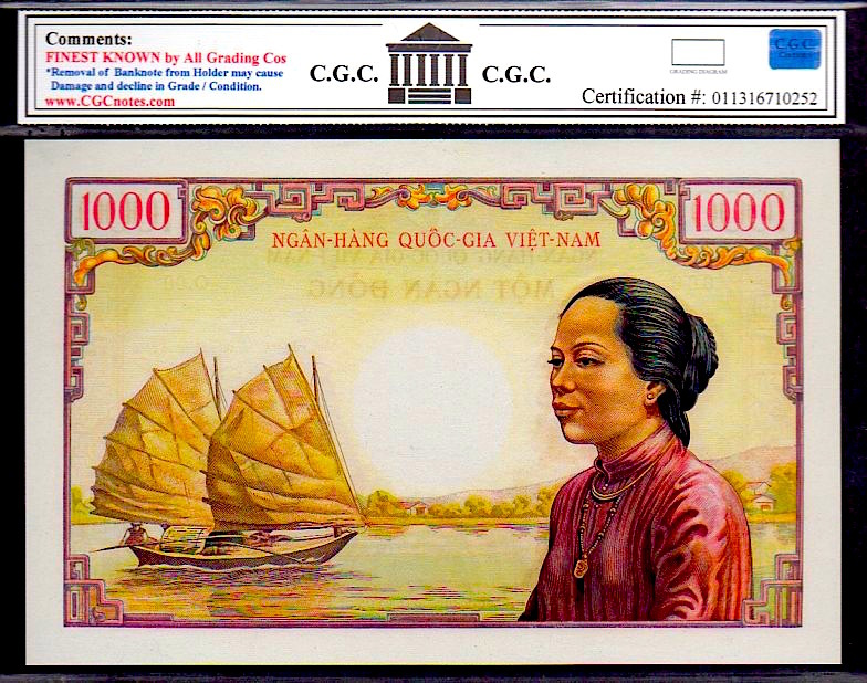 """SOUTH VIETNAM P4Ap 1955-56 ND 1000 DONG """"The OLD MAN at TEMPLE"""" PROOF note CGC 6"""
